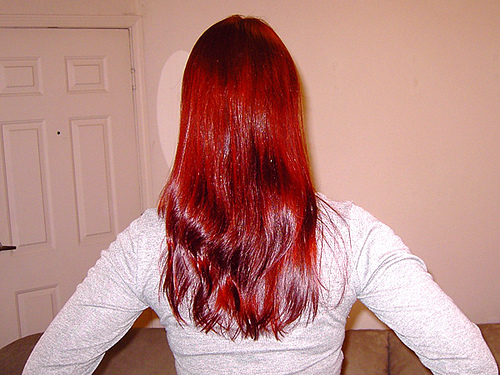This is the result of two years of consistent, full-head henna coloration over blonde hair.